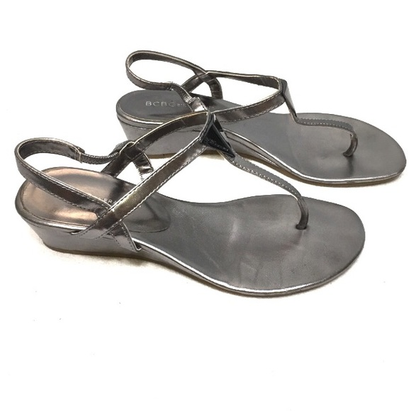 f67c4d2c0b4 BCBG Generation Silver Jocee Thong Wedge Sandals
